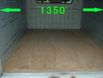 引越し車両荷台内部の写真及び内寸法